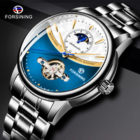 FORSINING Royal Blue Automatic Male Watch Tourbillon Moonphase Mechanical Mens Watches Black Steel Strap Clock Relogio Masculino