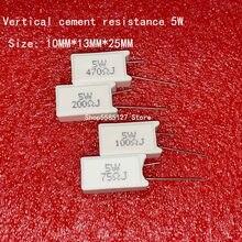 5PCS 5W Verticais cimento resistência 0.05 ~ 300K ohm 5% 0.1R 0.15R 0.22R 0.25R 0.39R 0.47R 1R 10RJ 100R 150R resistor De Cerâmica