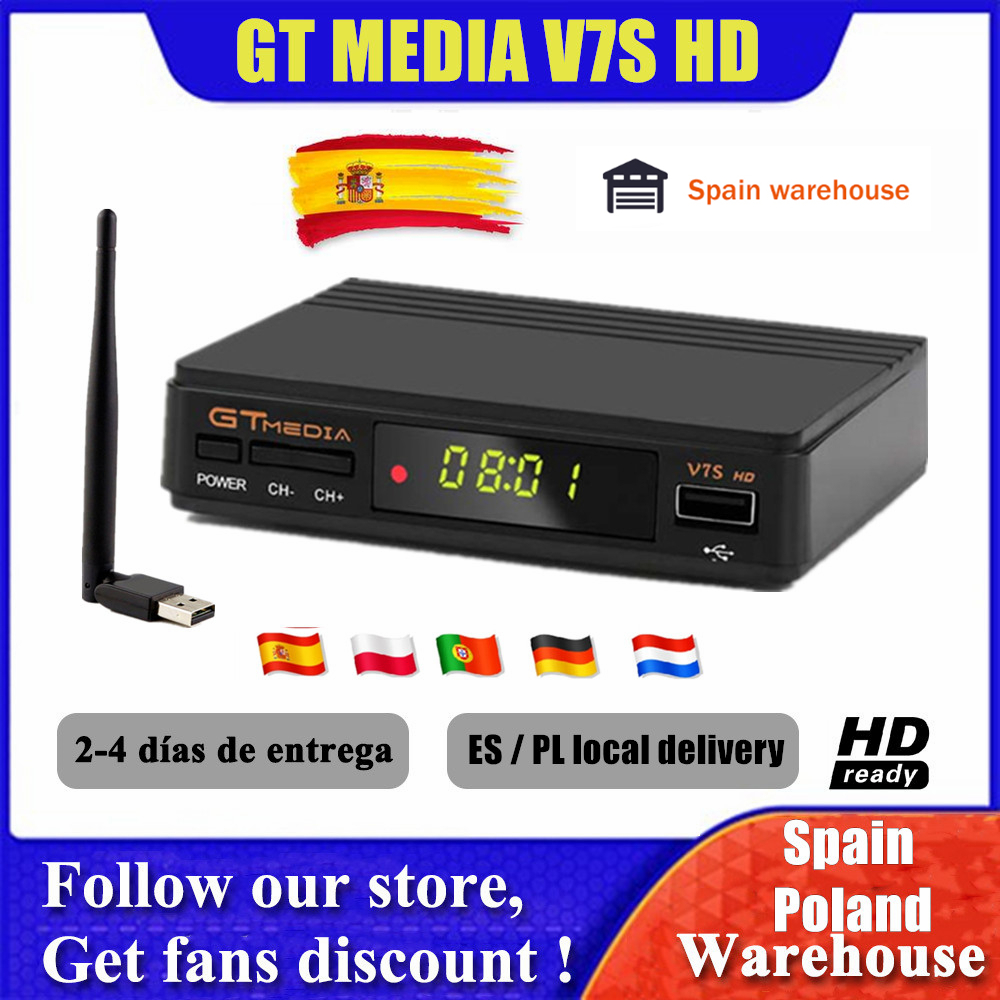 GTMedia V7S Full HD Satellite Receiver DVB-S2 TV Decoder USB WIFI Upgrade Freesat V7 tv Receptor Sat TV Box no APP included