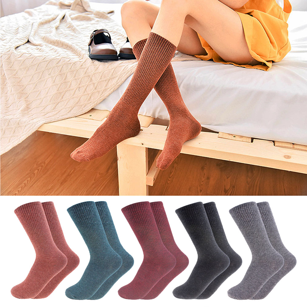 Women Autumn Winter Long Tube Sock Solid Color Knitted Pure Combed Cotton Ladies Socks Keep Warm Comfortable Girl Sock