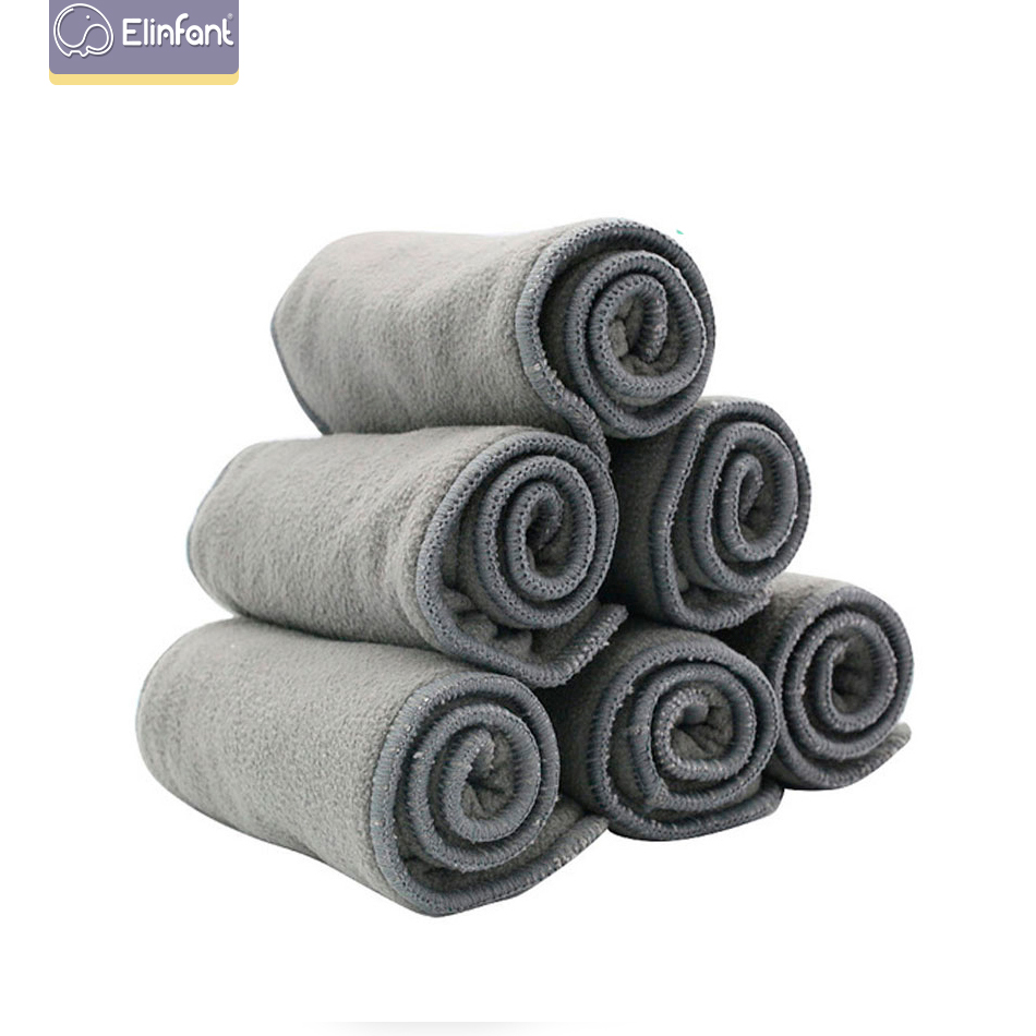 Elinfant 10pcs Quality Baby Nappies Bamboo Charcoal Liner Nappy Diaper Insert 2+2layers Bamboo Charcoal For Baby Cloth Diaper