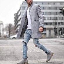 Men jackets vintage Casual Lapel Coat Solid Color Long Sleeve Slim Single-breast