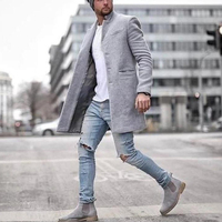 Men jackets vintage Casual Lapel Coat Solid Color Long Sleeve Slim Single breasted Tops Wool Blends