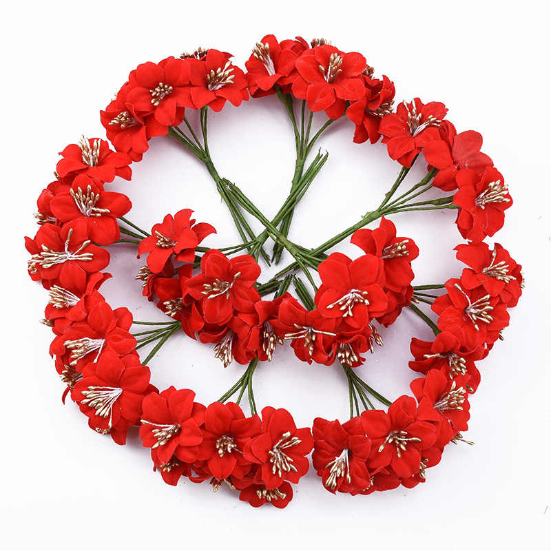 6 pièces mariage mariée broche étamine flores rouge cerise coiffe vases pour la décoration de la maison noël décoratif fleurs couronnes bricolage cadeaux