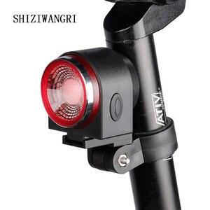 Lâmpada traseira da bicicleta luz de travagem alarme roubo chamada remoto controle sem fio carga usb led lanterna antiroubo luz da bicicleta a8