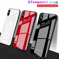 Gehärtetem Glas Fall Für iPhone XR X XS Max 7 8 Plus 6 6S Fall Luxus Reine Farbe Protector spiegel Glas Shell Für iPhone 7 8 Fall