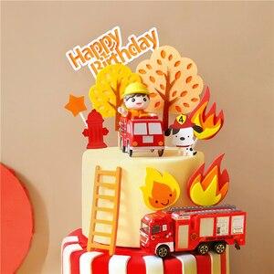 Image 2 - Pompiere Set Fuoco Camion di Scaletta Decorazione per il Giorno dei bambini Serbatoio di Acqua Felice Torta Di Compleanno Toppers Rifornimenti Del Partito di Modo Regali
