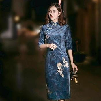 Chinese Traditional Vintage Velour Women Cheongsam Elegant Half Sleeve Short Qipao Classic Mandarin Collar Dress Big Size 3XL