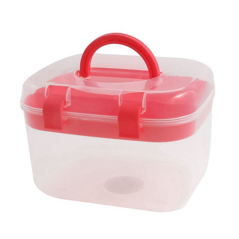 Plastic Household Multi-functional Medicine Pill Ready Aid Red Transparent Pencil Case
