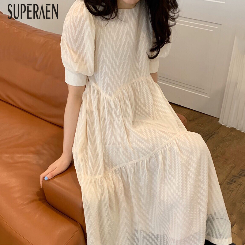 SuperAen Korean Style Long Dress Women New 2020 Summer Fashion Ladies Dress Round Neck Short Sleeve Women Clothing