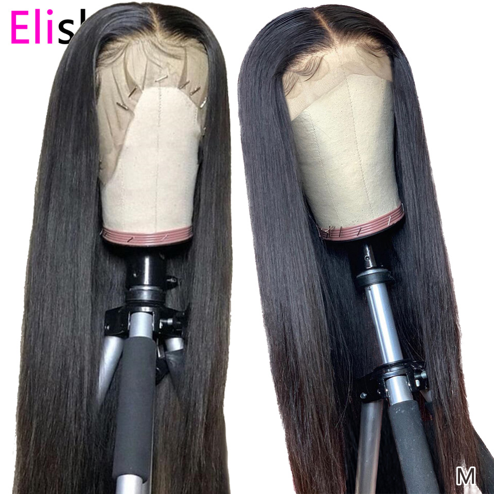 Straight Wig Transparent Lace Front Human Hair Wigs 13x4 Brazilian 150Density Remy Long Natural PrePlucked Glueless Bleach Knots