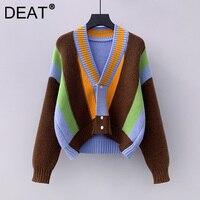 DEAT maglione donna Cardigan lavorato a maglia Hit Color manica lunga scollo a V sciolto selvaggio stile Casual 2021 nuova moda autunno 15XM263