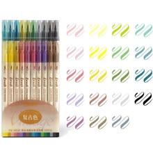 3 pçs cor retro escova marcador canetas definir dupla lado fino forro água tinta blendable aquarela arte pintura desenho escola