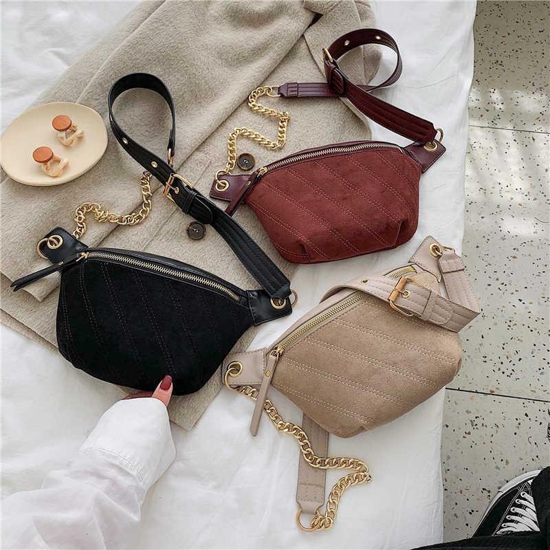 2019 mulheres de marcas famosas Bolsas Femininas Saco Mulheres Saco da cintura Cintura preto de camurça de Couro Crossbody Ombro Bolsa Peito