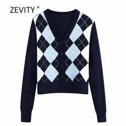 Zevity Nieuwe Engeland Stijl Vrouwen Vintage Ruit Patroon Breien Casual Slim Trui Vrouwelijke Vest Trui Chic Retro Tops S302