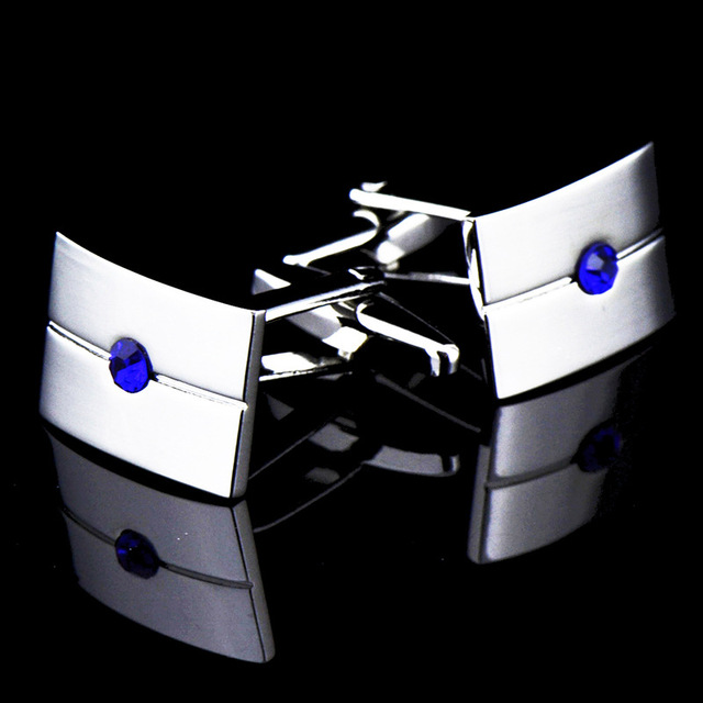 French Middle Blue Crystal Zircon Cufflinks 4