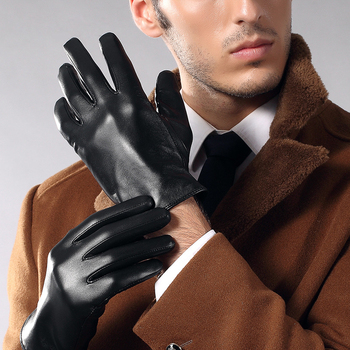 Genuien Leather Gloves Male Spring Autumn Fashion Thin Driving Sheepskin Gloves Man Classic Black Leather Gloves TU3863-60 women s genuine leather gloves black sheepskin finger driving gloves spring autumn thin velvet lined warm fashion mittens tb13