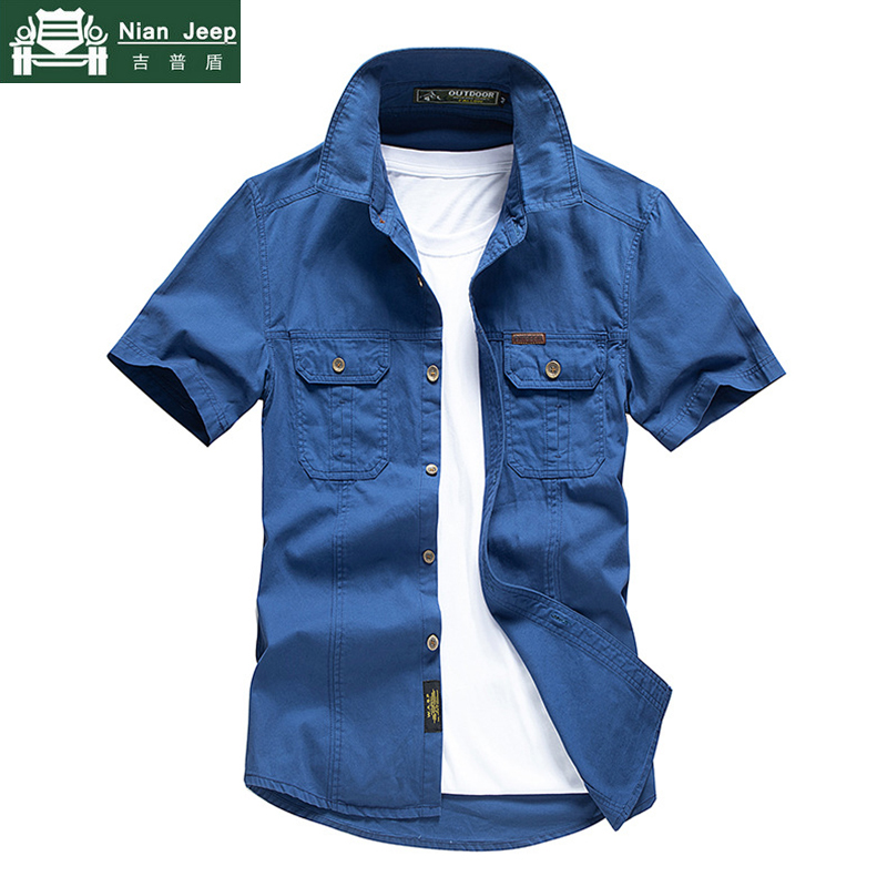 Casual Shirt Men Summer 100% Cotton Breathable Mens Shirts Military Army Solid Short Sleeve Cargo Chemise Homme Plus Size M-4XL