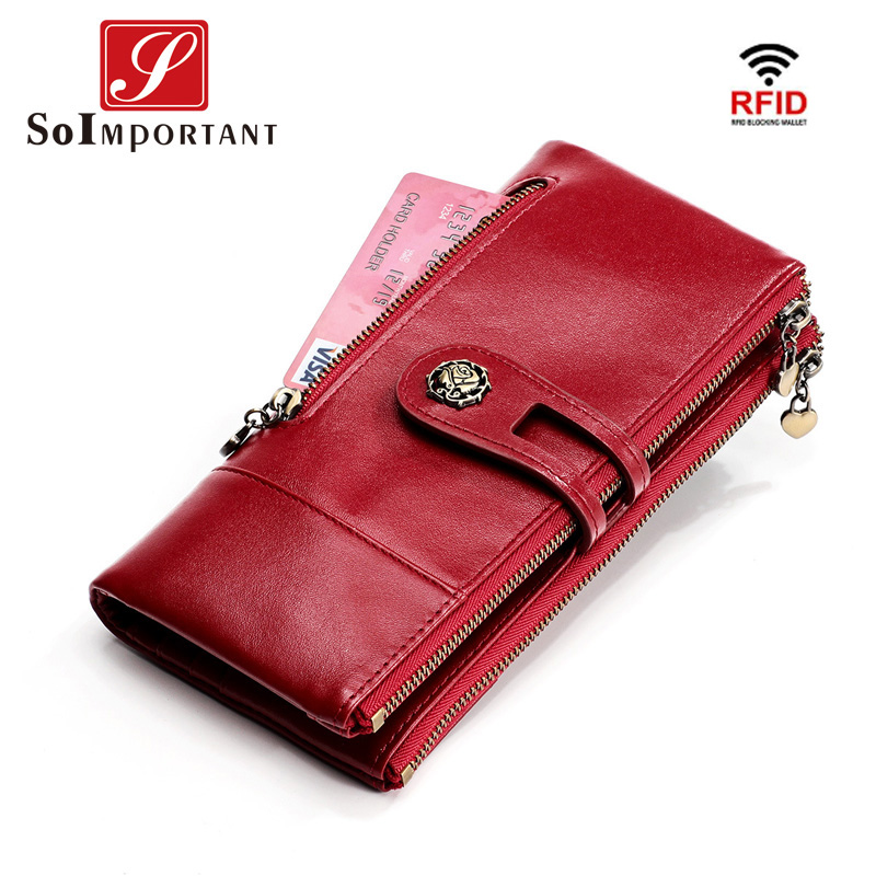 Genuine Leather Women Clutch Wallet Zipper Female Coin Purse Portomonee Clamp For Phone Bag RFID Card Holder Handy Passport