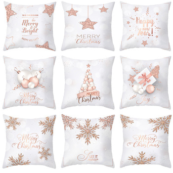 Pillow case 45 * 45CM New Pink Gold Christmas Polyester Pillowcase Home Hotel Holiday Decoration Square Pillowcase hot sale merry christmas pillow case square pillow cases new year cartoon pillow covers size 45 45cm