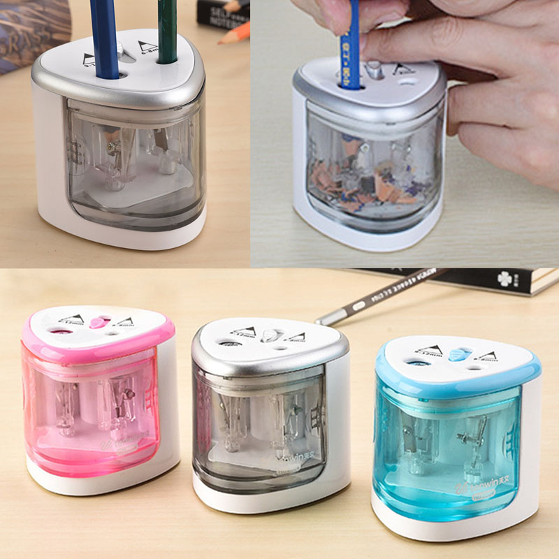 TENWIN 3 Color 2 Double Holes Sacapuntas Automatic Electric Pencil Sharpener Home School Office Desktop Students Supplies