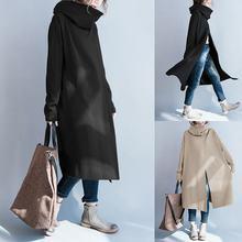 2019 ZANZEA Women Turtleneck Coats Solid Side Pockets Jackets Casual Pullovers L