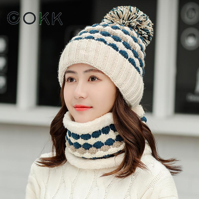 COKK Ladies Hat & Scarf Winter Thickened Velvet Windproof Warm Ear Protection Knitted Hat With Scarf Collars Sets For Women 2019