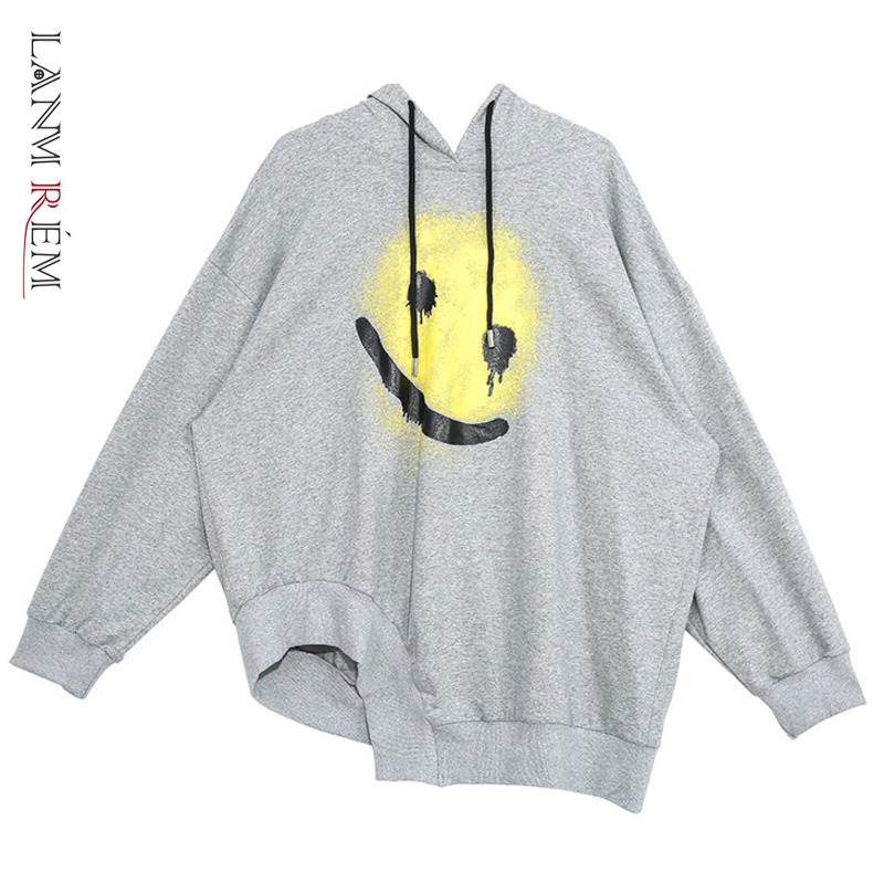 LANMREM Can Ship Tide 2020 Spring Fashion New Printing Pullover Sweatshirt For Women Personality Irregular Oversize Tops YH866