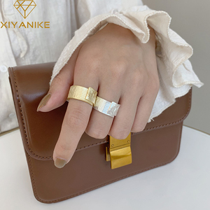 XIYANIKE 925 Sterling Silver Irregular Rock Pattern Open Rings for Women Couples Vintage Simple Party Jewelry Gifts 2020 New