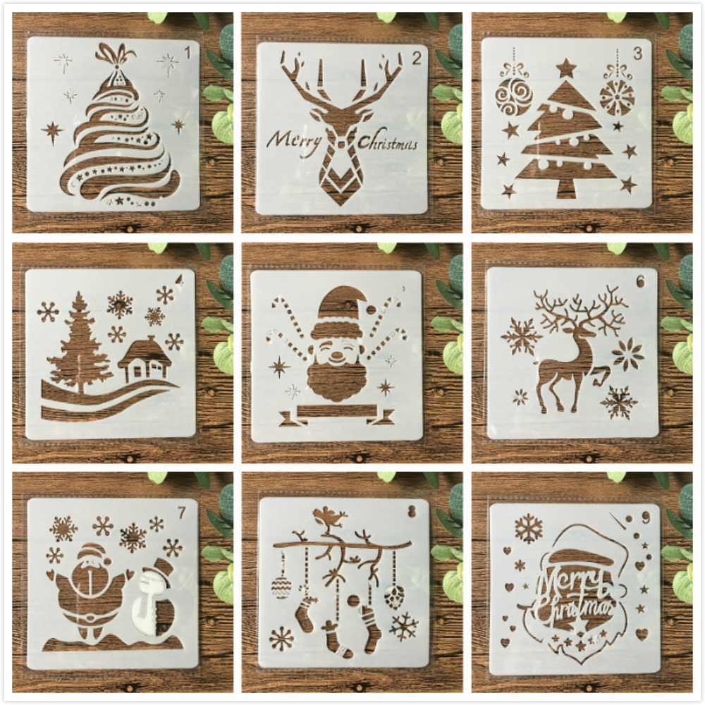 9Pcs 13cm Christmas Santa Clause Reindeer Snow DIY Layering Stencils Painting Scrapbook Coloring Embossing Decorative Template