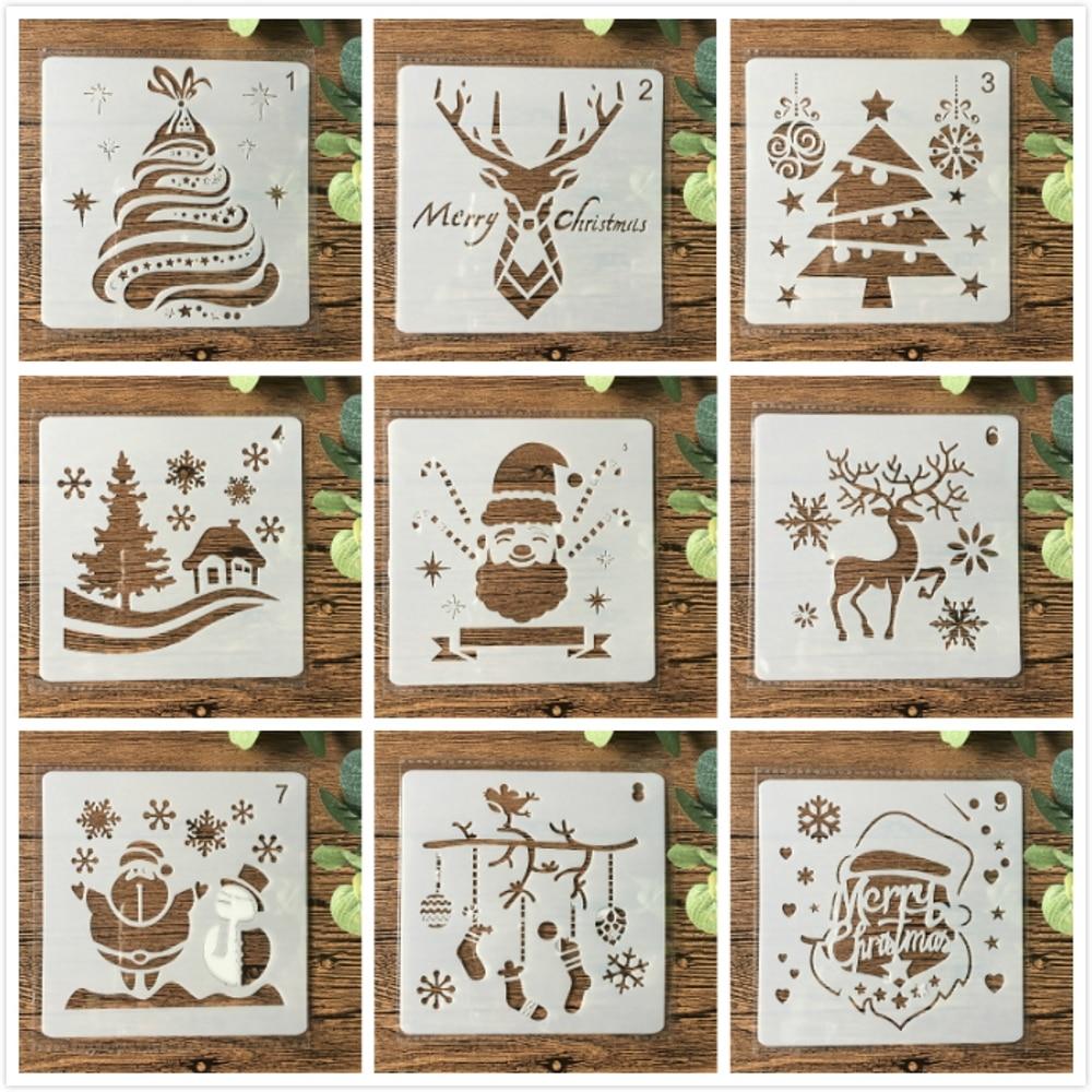 9Pcs 13cm Christmas Santa Clause Reindeer Snow DIY Layering Stencils Painting Scrapbook Coloring Embossing Decorative Template