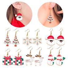 цена Merry Christmas 2019 Noel Earring Pendant Christmas Gift Ornaments Christmas Decor for Home New Year Gift 2020 Navidad Natal в интернет-магазинах