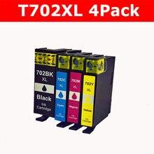 4 шт. в упаковке 702XL сменный картридж для принтера для Epson 702 702 XL повышенной емкости для сотрудников Pro WF-3720 WF-3730 WF-3733 принтер