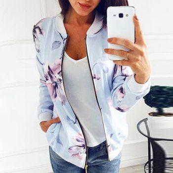 2020 Floral Printed Women Women's Jackets Plus Size Short Female Coat Zipper Chaqueta Long Sleeve Wo