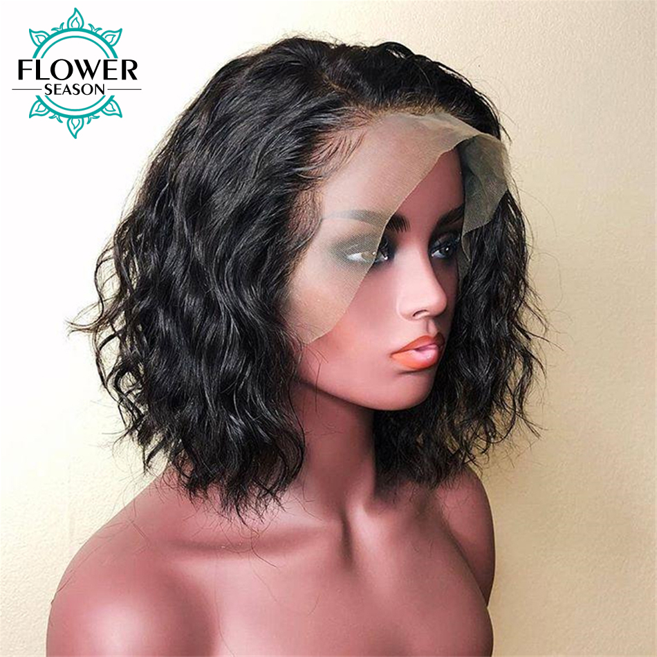 Brazilian Short Water Wave 13x6 Lace Front Wig With Baby Hair Pre Plucked Glueless Remy Human Hair Wigs Bleached FlowerSeason