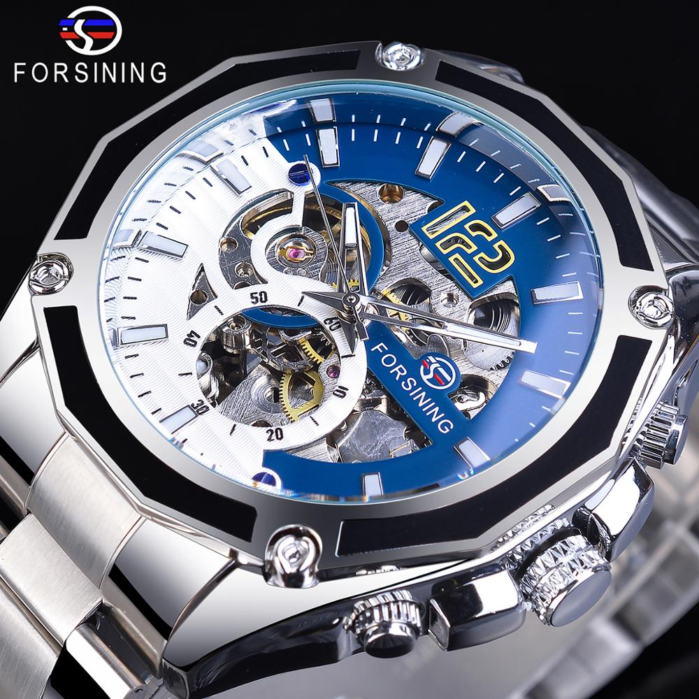 Forsining Steampunk Mechanical Sport Automatic Mens Skeleton Watches Top Brand Luxury Hour Timepieces Transparent Luminours Hand