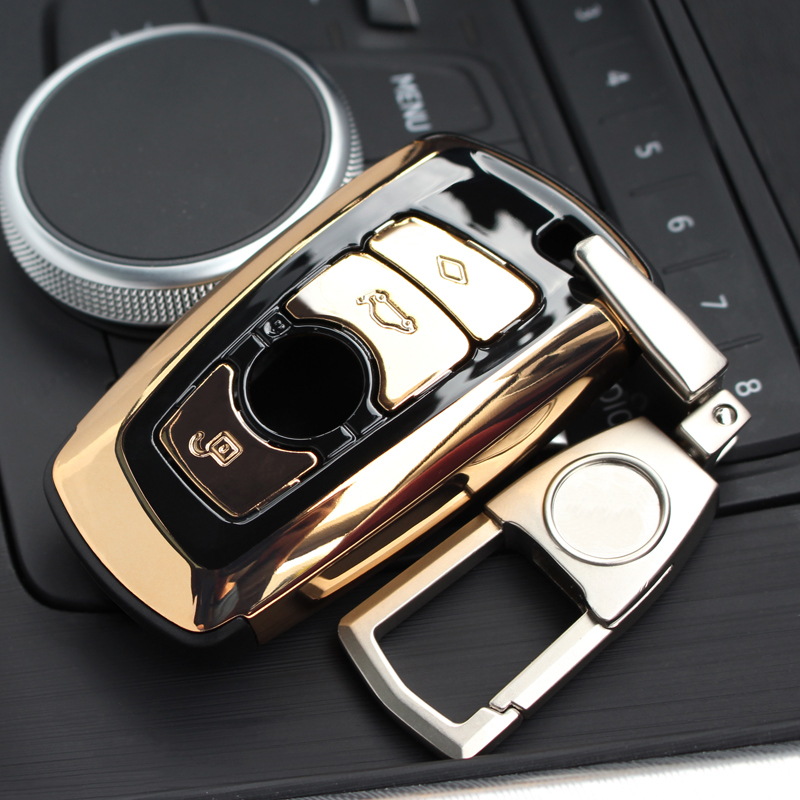 New ABS Auto Car Key Shell Case Cover Holder With Keyring Key Ring Chain Buckle Keychain For BMW F07 F10 F11 F20 F25 F26 F30