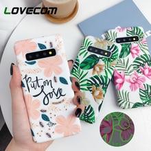 Carcasa luminosa LOVECOM para Samsung Galaxy Note 10 8 9 S10e S10 Plus S8 S9 Plus Vintage flor hoja dura PC cubierta trasera regalo