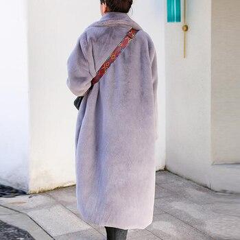 Winter Women High Quality Faux Rabbit Fur Coat Luxury Long Fur Coat Loose Lapel OverCoat
