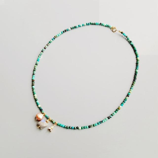 LiiJiที่ไม่ซ้ำกันChrysocolla Labradorite Baroque Pearl Bohemianผู้หญิงNeclacece Iron Tower Charms 925เงิน