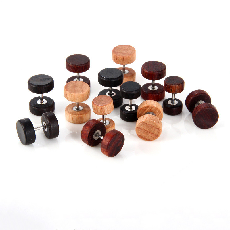 New hip hop rock round natural wood <font><b>earrings</b></font> fashion men and women dumbbell wood <font><b>earrings</b></font> hypoallergenic jewelry gifts image