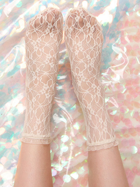 Short <font><b>Lolita</b></font> Socks Semi Sheer Lace Vintage Student Socks image