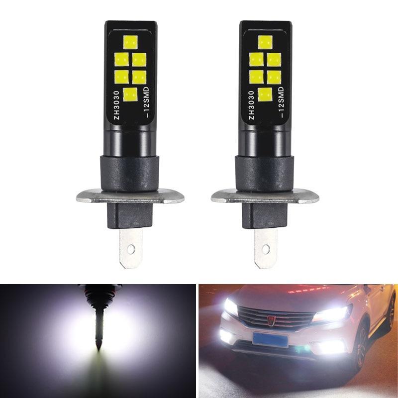2Pcs H1 H3 LED Bulb Super Bright 12 3030 SMD  Canbus Lamp Car Front Head Light 12V 24V 6000K White Driving Day Running Lamp Auto