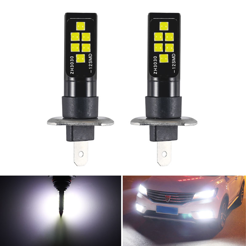 2Pcs H1 <font><b>H3</b></font> <font><b>LED</b></font> <font><b>Bulb</b></font> Super Bright 12 3030 SMD Canbus Lamp Car Front Head Light 12V 24V <font><b>6000K</b></font> White Driving Day Running Lamp Auto image