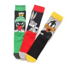 Chaussettes pour hommes avec imprimé de canard Daffy, dessin animé, vert, Marvin le Martian, classique, pour adultes, automne et hiver