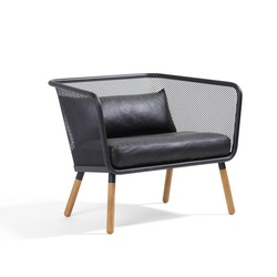 60pcs PACK, Industry Chic Wire Mesh Lounge Chair / Iron Made with Rustproof Painting / Eco Leather Cushions Included