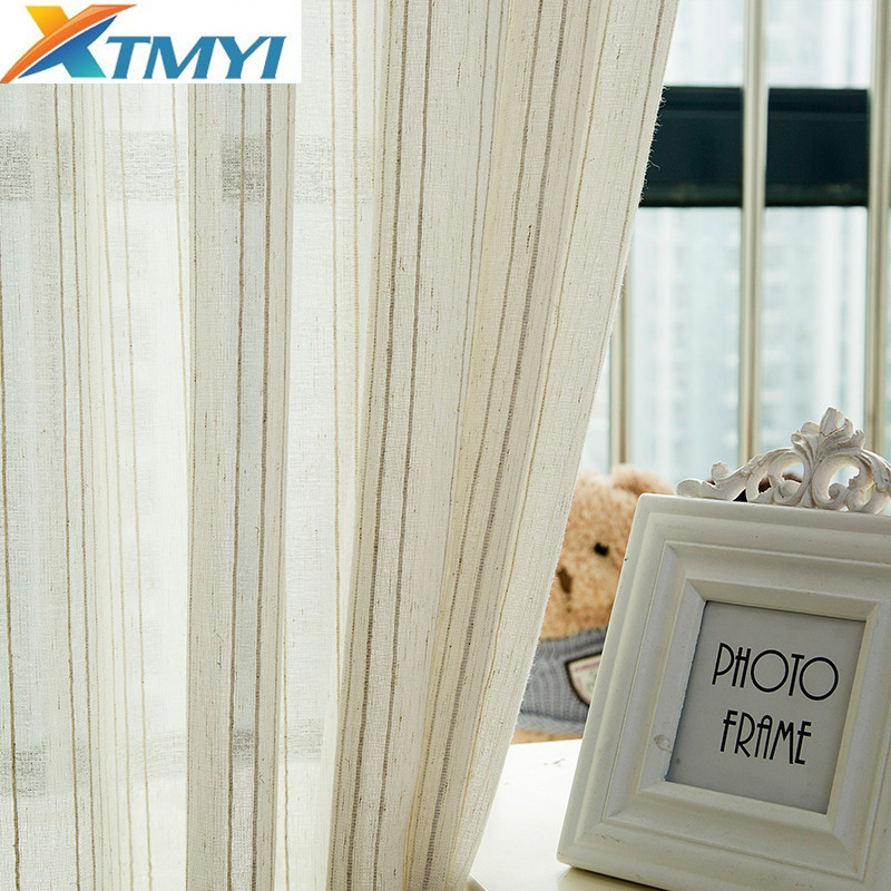Modern Tulle Curtains for Living Room Bedroom Kitchen Curtains Beige Stripe Window Treatment Curtain Panel Drape