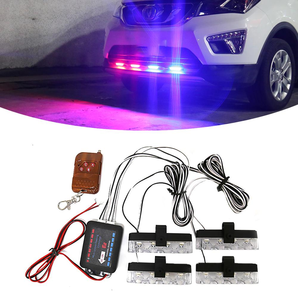 M&C 4*4 LED Car Truck Emergency Strobe Light Remote Wireless Control Light Flash Signal Fireman Police Beacon Warning Light