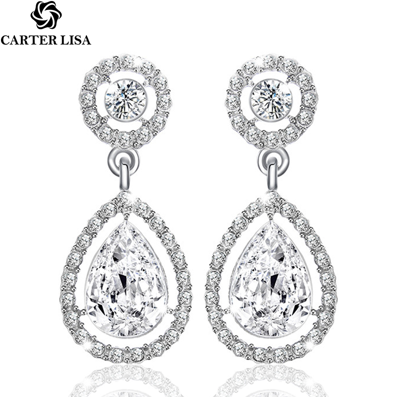 CARTER LISA 2019 Crystal Teardrop Long  Bridal Large Drop Earrings Brincos For Women Fashion Wedding Jewelry Boucle D'oreille