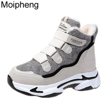 Platform-Shoes Short-Boots Moipheng Winter Thick Women Ladies No Ankle Bottom-Hook-Loop